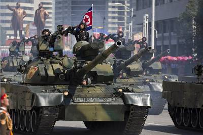 Tanks roll past during a parade for the 70th anniversary of North Korea\'s founding day in Pyongyang, North Korea, Sunday, Sept. 9, 2018.