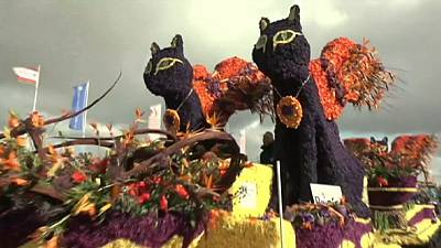Netherlands flower parade in full bloom