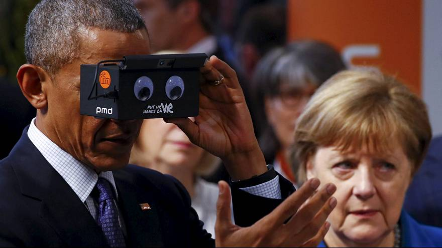 Obama visita la Fiera tecnologica di Hannover prima del vertice a 5