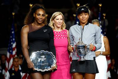Naomi Osaka and Serena Williams pose with Tracey Austin and their trophies after their Women\'s Singles finals match at the 2018 US Open at the USTA Billie Jean King National Tennis Center on Sept. 8 in New York City.