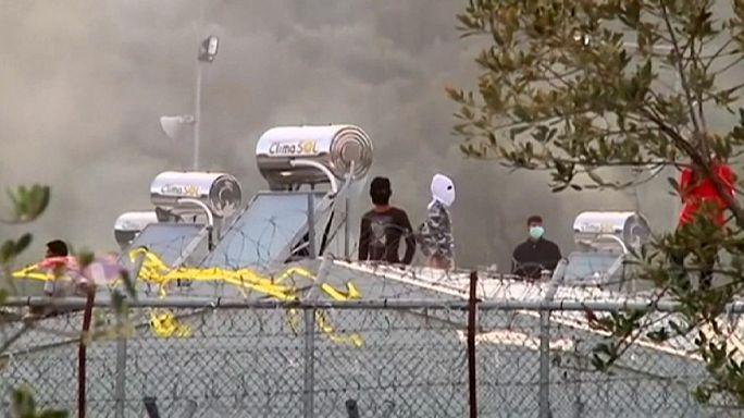 Midilli göçmen kampında çatışma çıktı
