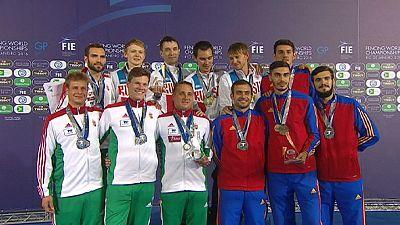 Russia strikes gold in men's team sabre in Rio