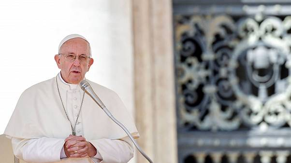 Image: Pope Francis delivers a speech during his weekly general audience at
