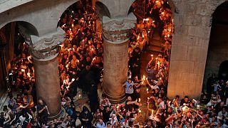 Ceremonia del Fuego cristiano-ortodoxa en Jerusalén