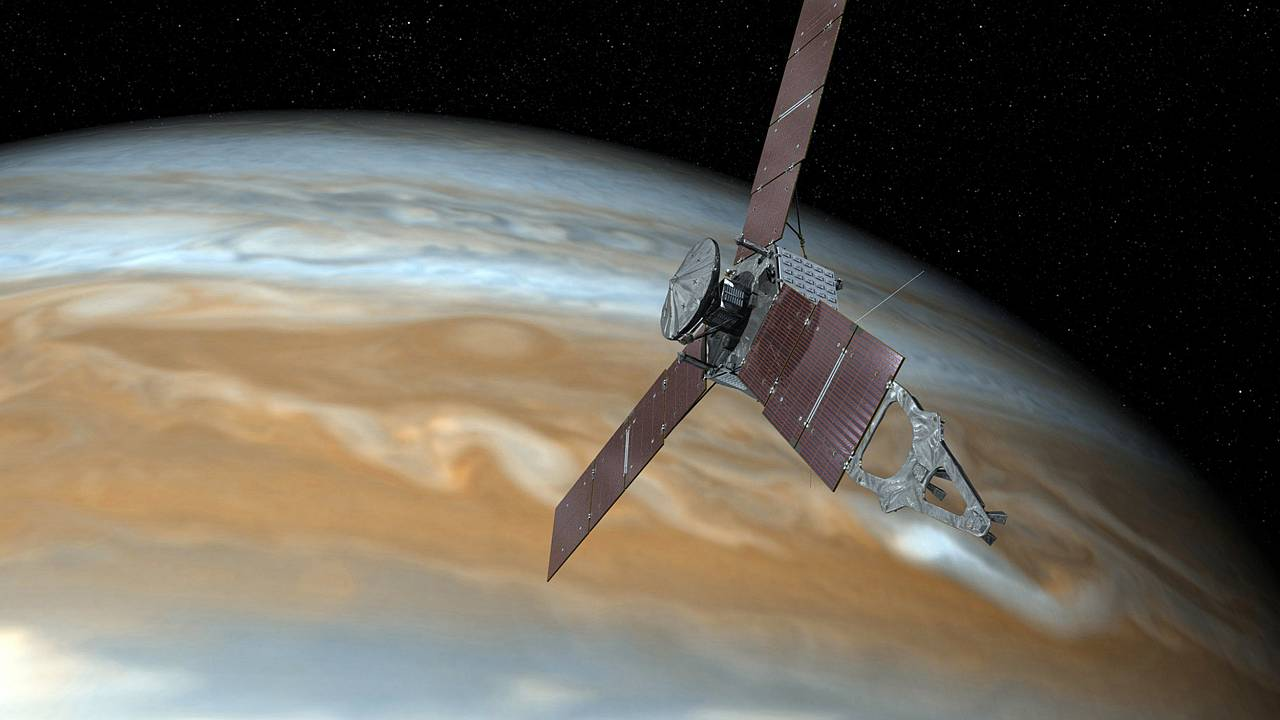 Image: Juno spacecraft making one of its close passes over Jupiter