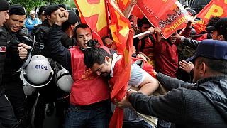 Turkish Police clash with May Day protesters trying to access Taksim square