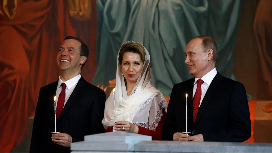 Russia: President Putin attends Easter Mass in Moscow cathedral