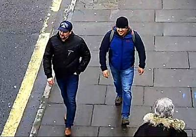 Alexander Petrov and Ruslan Boshirov are shown in a still from surveillance video in Salisbury on March 4.