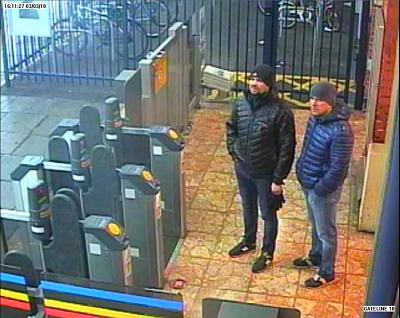 Alexander Petrov (right) and Ruslan Boshirov at Salisbury train station on March 3.