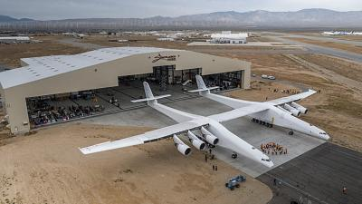 The Stratolaunch space plane has a wingspan that is wider than a football field is long.