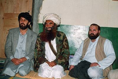 Jalaluddin Haqqani, center, with two top commanders in his base in Pakistan\'s Miranshah in 1991.