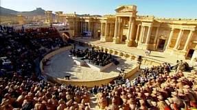 Russian orchestra performs concert at Palmyra in Syria