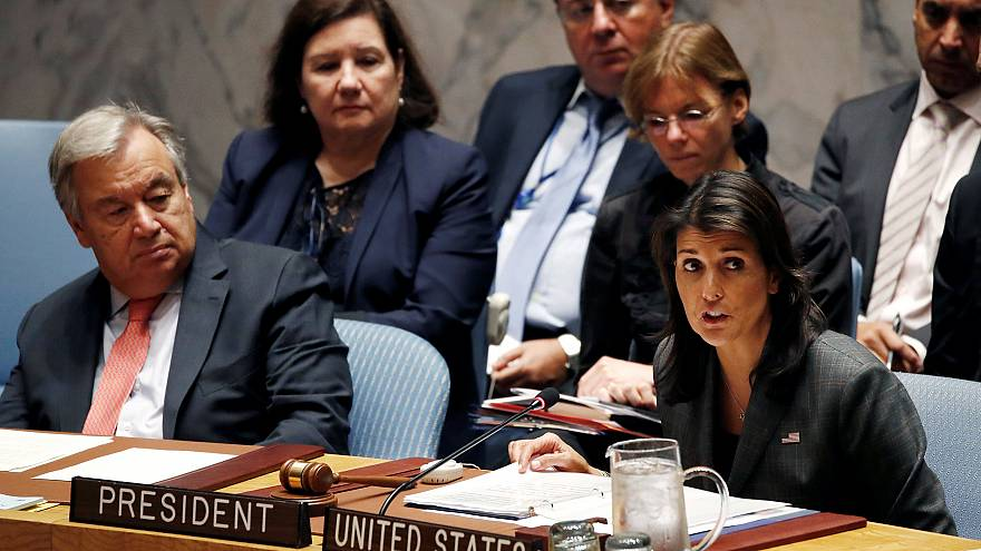 Image: U.S. Ambassador to the United Nations Nikki Haley chairs a meeting o