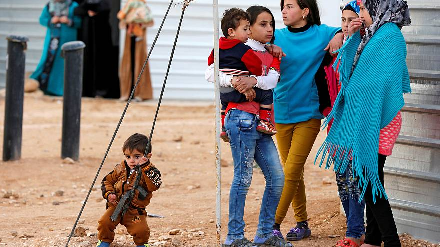 Syrian refugees wait for the arrival of actor Angelina Jolie, UNHCR Special