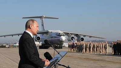 Russian President Vladimir Putin visits the Hmeymim Air Base in Syria on Dec. 11, 2017.
