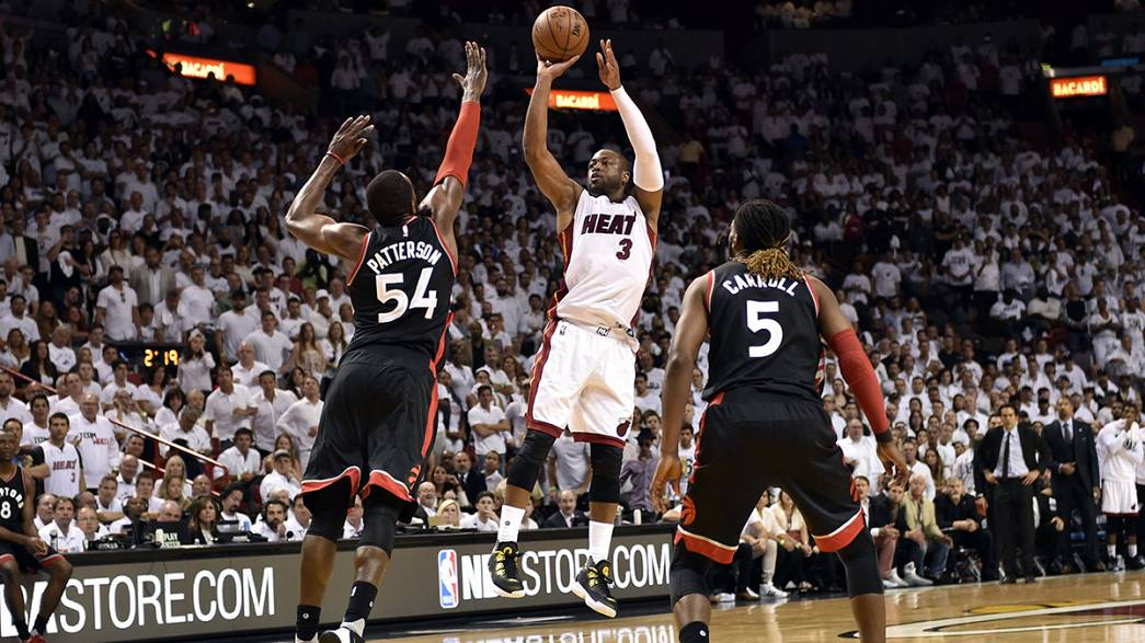 Dwayne wades into the Raptors in the NBA semi-final playoffs