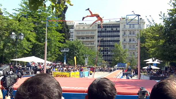 Pole vaulters take to the streets of the Greek capital Athens