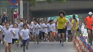 Egyptian children take part in Cairo mini marathon
