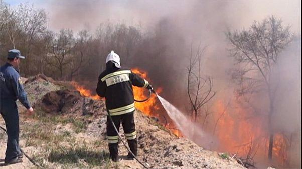 گسترش آتش در جنگلهای سیبری