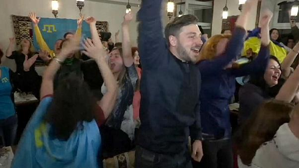 Crimean Tatars celebrate Ukraine's Eurovision victory