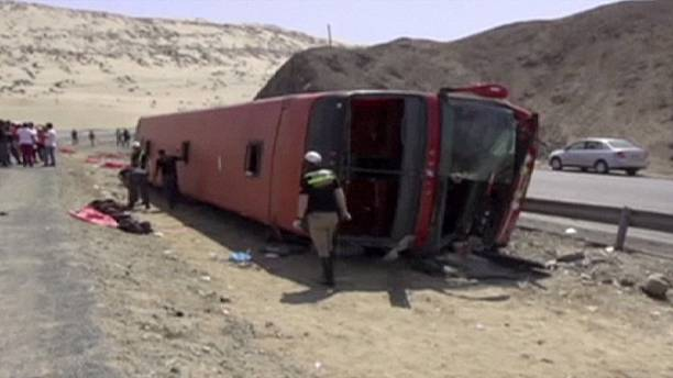 At least 12 dead in Peru bus crash