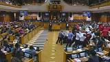 Ökölharc a dél-afrikai parlamentben