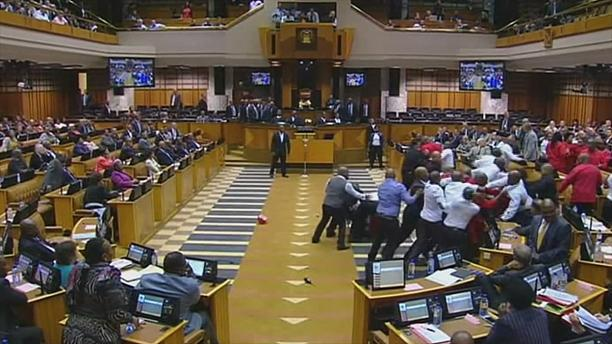 Fighting amid parliamentary protest over Jacob Zuma