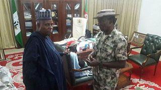 Rescued Chibok girl in Borno governor's care, meets Buhari