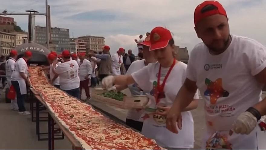 World's longest pizza created in Naples measuring 1.8 km