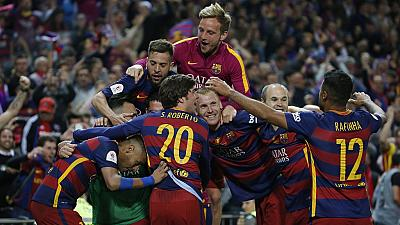 Barcelona celebrate double triumph at Camp Nou