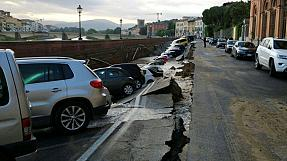 Road collapse plunges parked cars into Florence underwater pipe