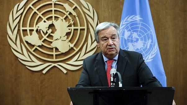 Image: United Nations Secretary-General Antonio Guterres addresses the medi