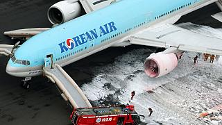 Korean Air evacuates passengers due to engine fire