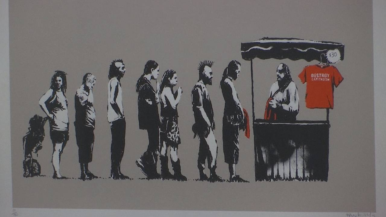 Banksy's work on display in Rome