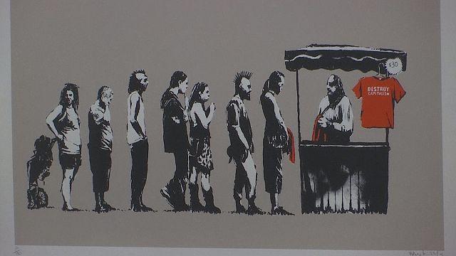 """""""Guerra, capitalismo e liberdade"""": a exposição do misterioso Banksy em Roma"""