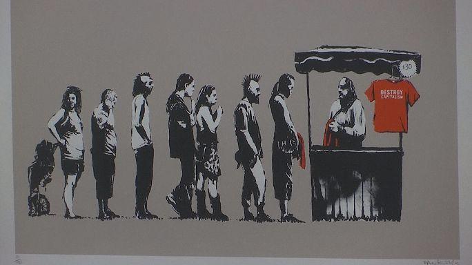 Kimliği belirsiz sanatçı Banksy'nin çalışmaları Roma'da sergileniyor