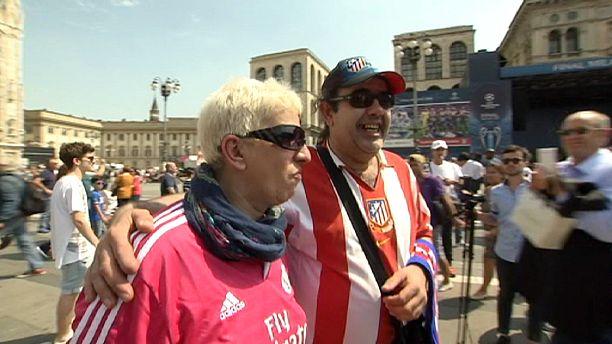 أجواء بهيجة في مدينة ميلانو الإيطالية قبل مباراة ريال مدريد وآتليتيكو مدريد