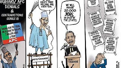Nigeria's main opposition mock Buhari's first year with cartoons