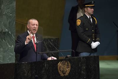 Turkish President Recep Tayyip Erdogan addresses the United Nations General Assembly on Tuesday.