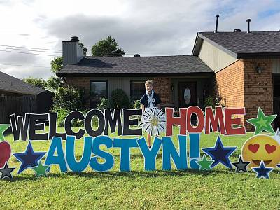 Austyn Kerley after coming home from the hospital on Sept. 20.