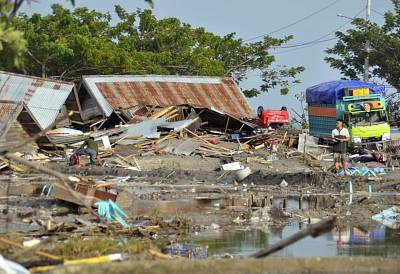 Damage caused by a tsunami in Palu, Indonesia.
