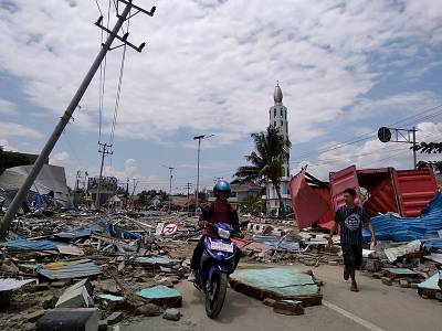 Streets full of debris in Palu, on Sulawesi island, Indonesia.