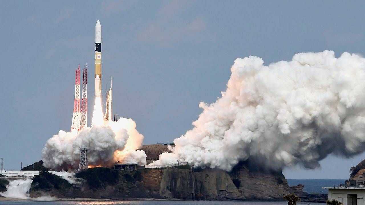 Image: A H-IIA rocket carrying Hayabusa 2 space probe blasts off from the l