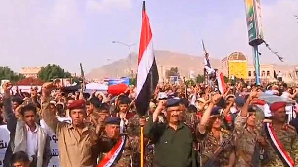Houthi supporters denounce Saudi-led air strikes in Yemen