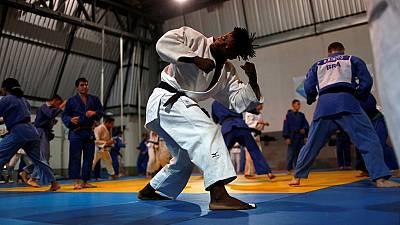 Refugee judoka,Popole Misenga prepares to compete in Rio Olympics