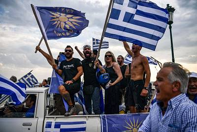 A protest against the naming agreement reached by Greece and Macedonia in the Greek city of Thessaloniki on Sept. 8.