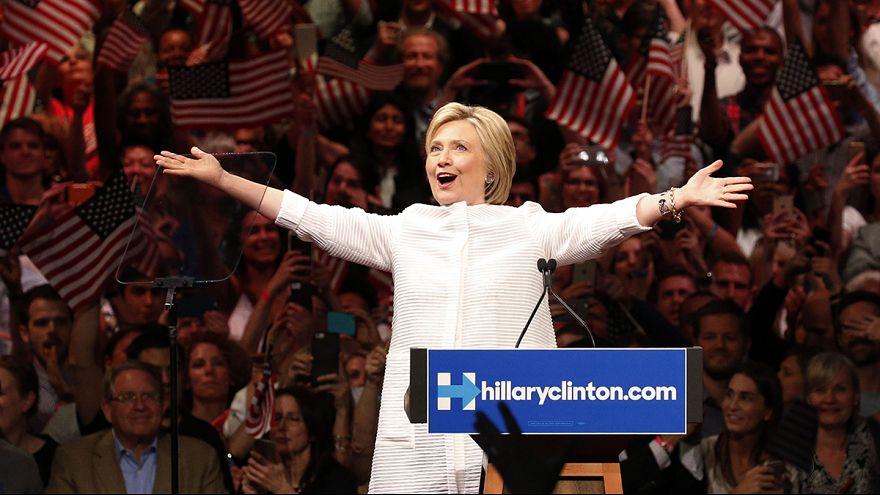 Clinton celebra su candidatura a la presidencia de EE.UU.