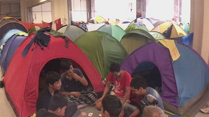 Living in tents inside ex Athens' international airport