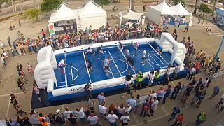Sardinia: giant table football game