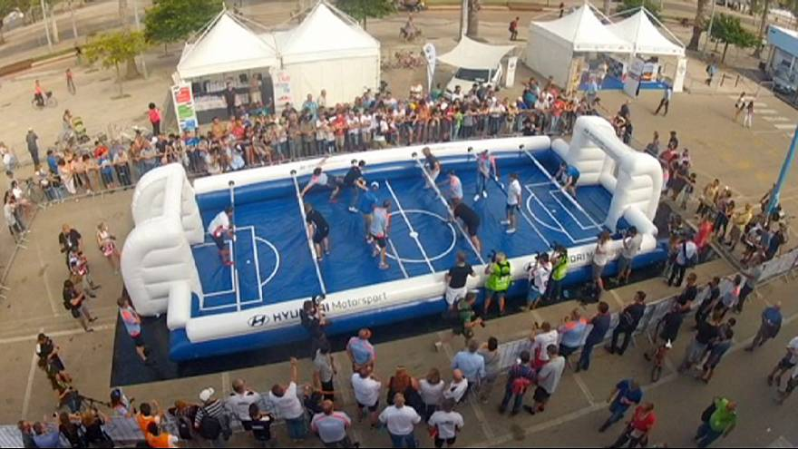 Sardinia: giant table football game